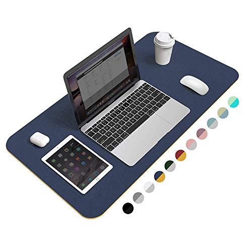 "Desk Pad Protector Office Desk Mat, BUBM Waterproof PU Leather Desk Writing Mat Laptop Large Mouse Pad Desk Blotters Desk Decor for Office Home, 31.5"" x 15.7"", Dark Blue"