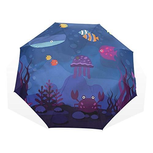 LASINSU Regenschirm,Aquarium Fischwal,Faltbar Kompakt Sonnenschirm UV Schutz Winddicht Regenschirm