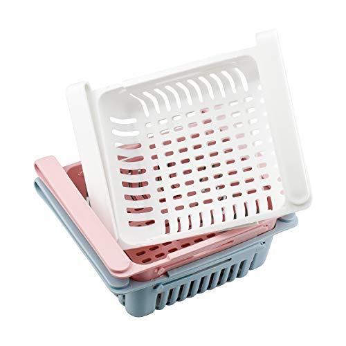 3 Stück Kühlschrank Schubladen Ausziehbar Kühlschrank Partition Lagerregal Einstellbar Kühlschrank Korb 3 Stück Klemmschubladen für Kühlschrank blau rosa weiß