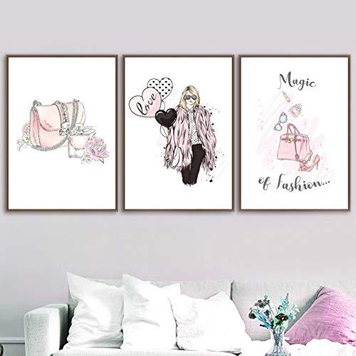 Beliebte Cartoon Mädchen Parfüm Ballon hochhackige Schuhe Dekorieren Gemälde Wohnzimmer Wand Poster Mädchen Zimmer Dekor Bilderrahmenlos