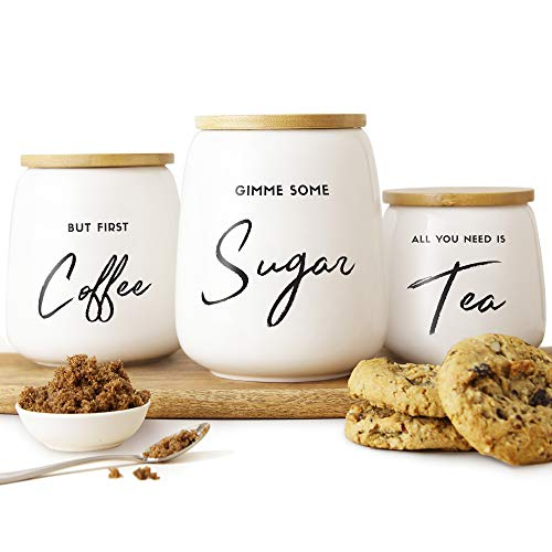 Airtight Kitchen Canister Set of 3 for the Kitchen Counter & Coffee Bar   Coffee Tea Sugar Ceramic Canister Set with Airtight Bamboo Lids   Fun Canister Sets for the Kitchen  