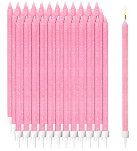 Pink Glitter Confetti Long Thin Birthday Cake Candles in Holders (5 in, 48 Pack)