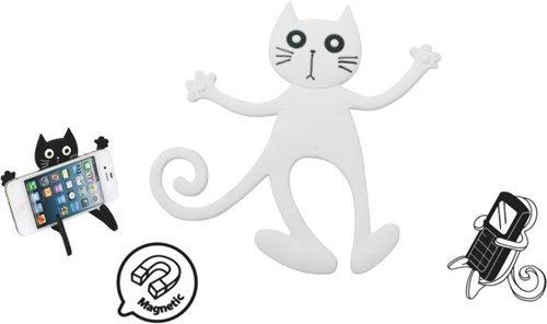 Dakota - Biegsamer Handyhalter Katze, Weiss