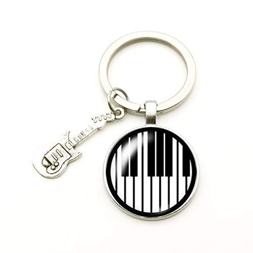 N/ A Mode schattige gitaar mini Note hanger sleutelhanger glas convex ronde sleutelring DIY sieraden muzikant souvenir