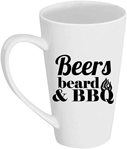 SanJIUCOM Cervezas - Barba - & BBQ - Taza de café con Leche de 17 oz