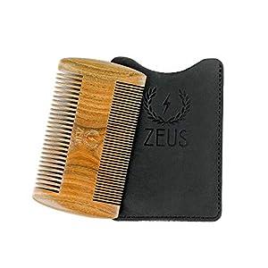 ZEUS Organic Sandalwood Double-Sided Beard Comb w/Leather Sheath - R31, Vegan-Friendly, Anti-Static, Everyday Carry Comb 8