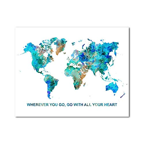 World Map motivational travel Quote 11 x 14 inches Print