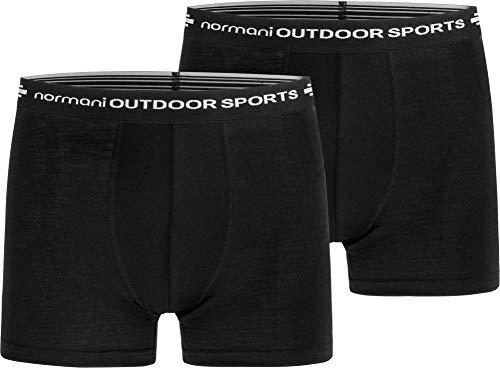 normani 2er Pack Herren Merinounterhose Boxershorts Funktionsunterwäsche 100% Merinowolle Sporthose [S-XXL] Größe S