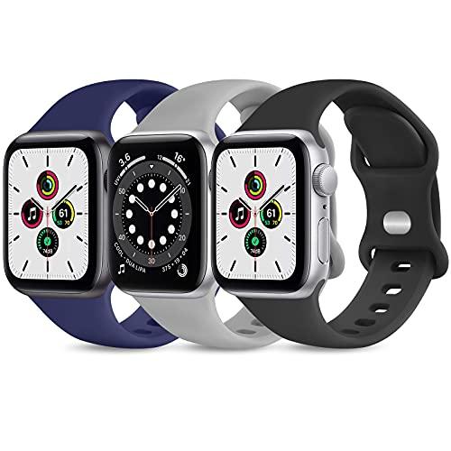 Wanme Cinturnio Compatibile con Apple Watch 38mm 40mm 42mm 44mm Cinturino, 3 Pezzi Morbido Silicone...