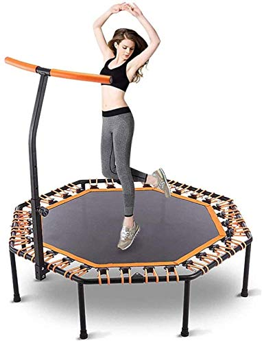 Quiet Fitness Mini trampoline met verstelbare bar rail - binnen rebounder for volwassenen - Best Urban Cardio Fitness Workout Trainer sprong, bungee koord systeem bedekt - Max Limit 286 l