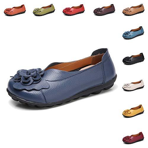 Gaatpot Damen Blumen Mokassins Atmungsaktiv Leder Bootsschuhe-Loafers, Dunkel Blau, Gr.- 41.5 EU/ Herstellergröße- 43