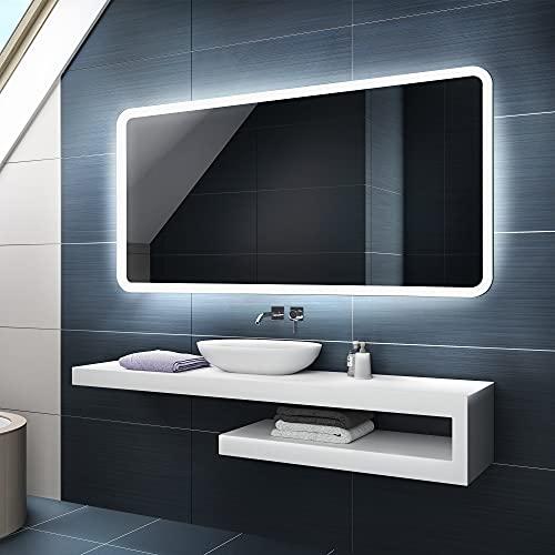 FORAM Moderne Miroir avec LED Illumination Salle de Bain avec Accessoires - sur Mesure - LED Lumineux Miroir avec Éclairage intégré L59
