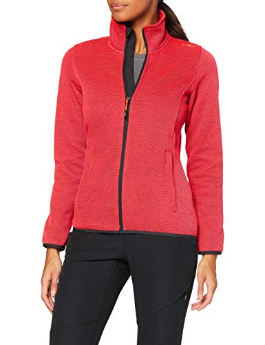 CMP Strickfleece Jacke mit Reißverschluss, Damen, Red Fluo-Anthrazit, 44, Red Fluo-Anthrazit