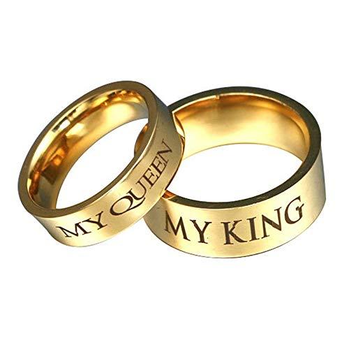 Aienid Verlobungsring Jugendstil Bandring In Gold Gravur My King My Queeen Damen Gr.67 (21.3) & Herren Gr.49 (15.6)