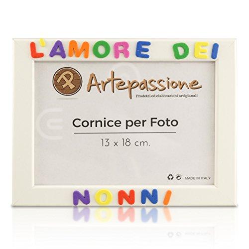 Cornici per foto in legno con la scritta L Amore Dei Nonni, da appoggiare o appendere, misura 13x18 cm Bianca. Ideale per regalo e ricordo.