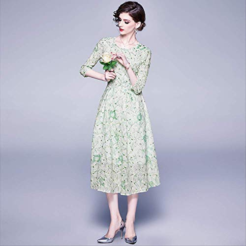 QUNLIANYI Elegantes Blumenstickerei Kleid Damen Frühling Sommer Chiffon Kleid Hellgrüne Spitze O-Ausschnitt Midi Party Kleid Büro M.