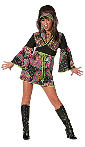 Karneval-Klamotten Hippie Kleid Kostüm Damen Flower-Power Kostüm Damen inkl. Haarband Batik Karneval 60er Jahre Hippie Damenkostüm