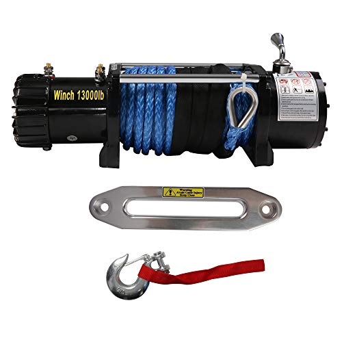 New Koreyosh 13000lbs Electric Winch 12V DC ATV Winch,Synthetic Rope with Wireless Handheld Remote,W...