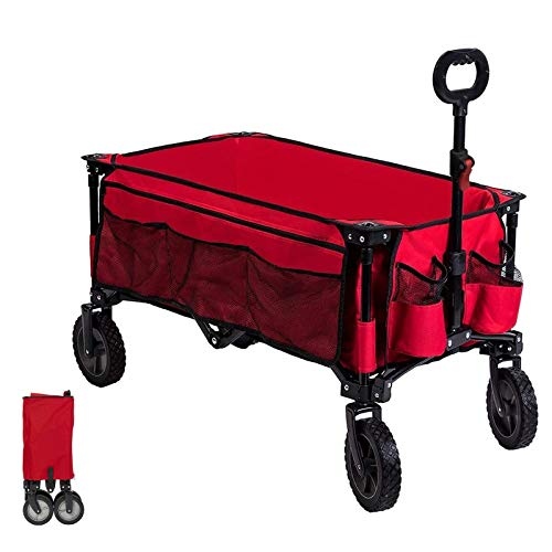 Timber Ridge Folding Camping Wagon Collapsible Beach Garden Trolley Cart Heavy Duty Utility Garden Yard Folding Cart with Side Pocket Cup Holders Carry Bag