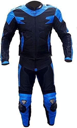 BI ESSE Tuta da MOTO per adulto in pelle e tessuto, divisibile in 2 pezzi giacca e pantalone, regolabile, completa di protezioni CE (Blu/Nero, S)