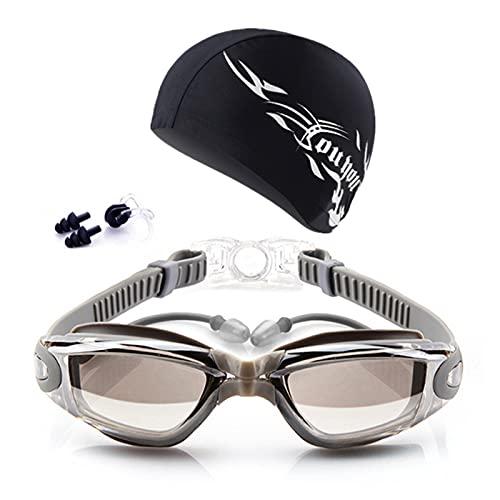 Gafas de natación para niños Equipo de Piscina Buceo Gafas de Gafas Tapas for los oídos Conjunto de Clips de la Nariz Surfing Natación Gafas Gafas Impermeable Anti-Niebla (Color : Silver)