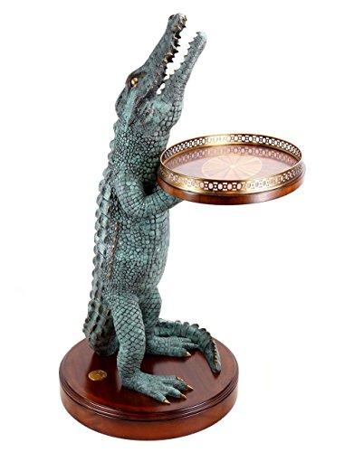 Kunst & Ambiente - Art Déco - krokodil tafel - gesigneerd A. Stevens - Edele whiskey tafel - krokodilfiguur van brons - Home bar - Brons tafel