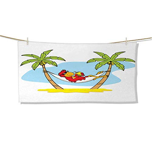 Soft, Absorbent Microfiber, Durable, Quick Dry, Super Absorbent Funny Illustration Parrot Lying Down in Hammock Between Palm Tree Shade in Tropics W27 x L12 Bra Towel for Women
