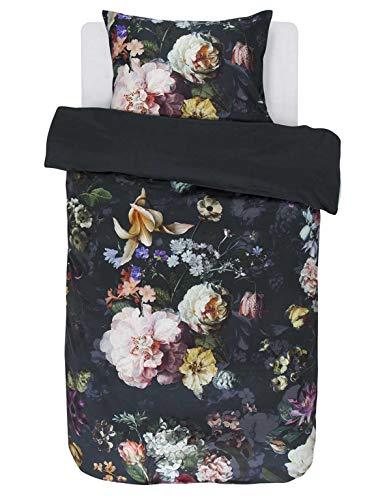 ESSENZA Bettwäsche Fleur Blumen Baumwollsatin Nightblue, 155x220 + 1 x 80x80 cm