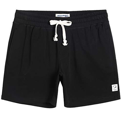 maamgic Mens Athletic Gym Shorts 5.5' Elastic Waist Casual Pajama Pocket Jogger Men Workout Short Pants Black Black