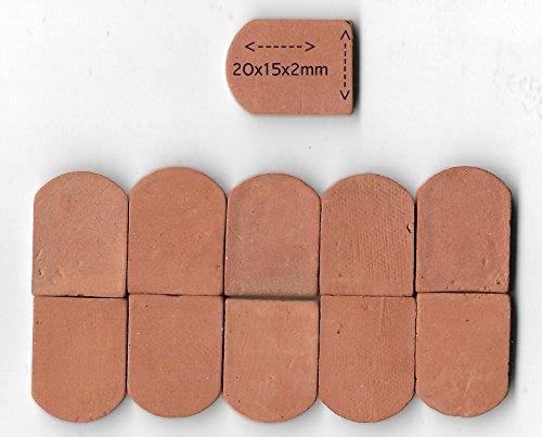 ALEA Mosaic Backstein Dachziegel für SteinBaukasten 20x15x2mm -,100 Stuck- Ziegelrot RN01