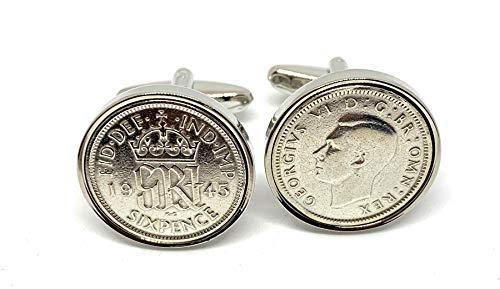 Premium 1945 Lucky sixpence cufflinks for a 76th Birthday cufflinks HT