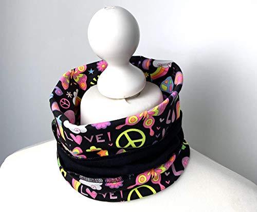 Halswärmer Halssocke Nase-Mund-Schal Loop Schal Rollkragen Schlauchschal Baumwolle schwarz gemustert neon PEACE LOVE