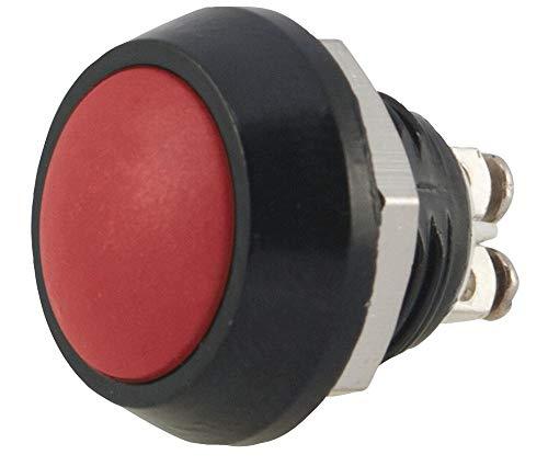 Drucktastenschalter, 12 mm, rot, IP65, Kontaktkonfiguration 1NO, Plattenausschnitt Ø 12 mm, Abc 12 mm Drucktasten, Schalterbetrieb (ON)-OFF, Schalterklemmen-Schraube, Farbe rot, Kontaktstrom max 2A