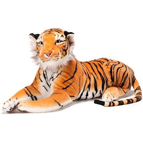 NUOLANDE Felpa Juguete León Mundial Natural Cachorro De Peluche, Muñeca De Tigre, Abajo Almohada De Algodón, Juguetes De Peluche De Tigre Lindo,Amarillo,100cm