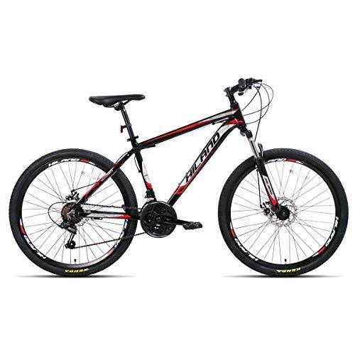 AL032621_BK-jio. Hiland Bicicleta de montaña 26 pulgadas MTB aluminio con cuadro de aluminio 17 pulgadas freno de disco ruedas de radios Shimano 21 cambio suspensión horquilla negro&rojo