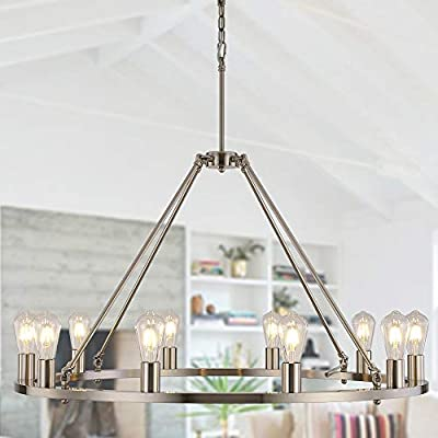 OSAIRUOS W39'' Vintage Rustic Rod Iron Chandelier Farmhouse Ceiling Pendant Chandeliers Lighting Fixture Industrial Decor Round Island 10 Lights for Living Room Hotel Church Cafe Shops, Nickel