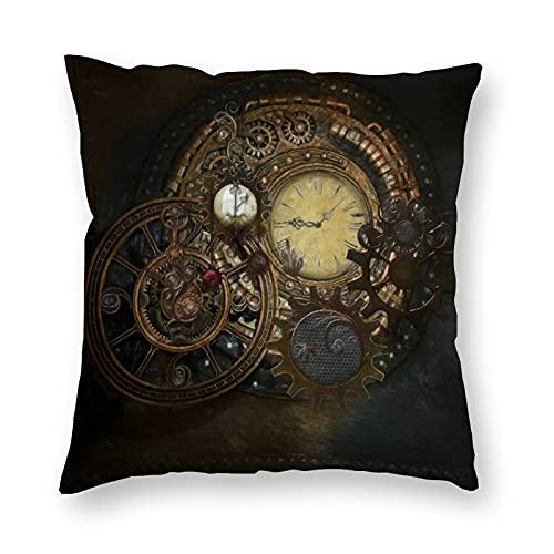 Fundas de almohada cuadradas suaves y cómodas, para sofá, dormitorio, coche, sofá, sala de estar, hogar, funda decorativa de 45 x 45 cm, relojes steampunk
