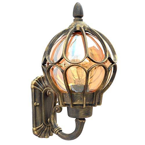 Antiguo Exterior Vaso Apliques de Pared, Vendimia Impermeable Lámpara de Pared Aluminio, Hogar Pasillo Entrada Villa Jardín Patio Camino Yarda Apliques de Exterior (Oro, D: 230 mm)