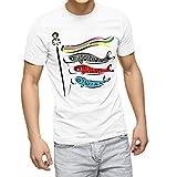 igsticker プリント Tシャツ メンズ 3XL XXXL サイズ size おしゃれ クルーネック 白 ホワイト t-shirt 013177 こいのぼり こどもの日 節句