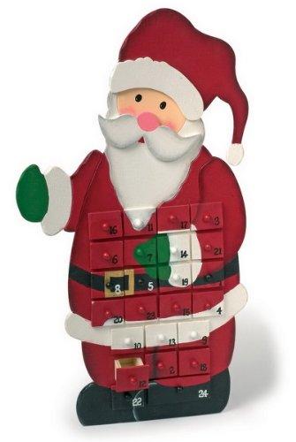 """Adventskalender """"Weihnachtsmann"""" aus bunt lackiertem Holz, mit 24 kleinen Schubladen, zum Verstecken von kleinen Überraschungen, verkürzt das Warten auf Weihnachten"""