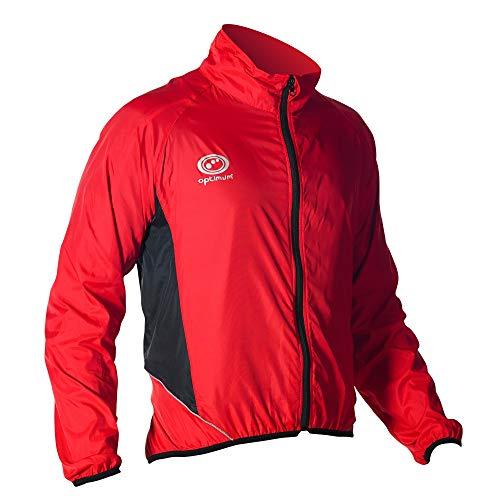 Optimum Men Hawkley Cycling Stowaway Jacket Red Small