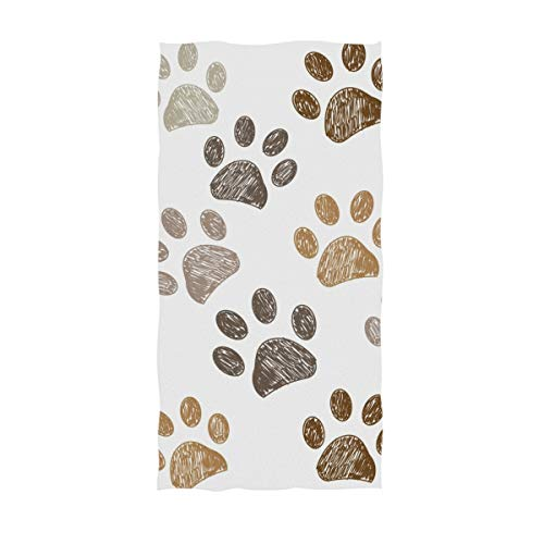 UNISE Dog Paw Hand Towel Cotton Face Towel Soft Highly Absorbent Fingertip Towels with Personalized Print Towel for Bath Room Decor and Sports Gym Yoga Kitchen (30x15 inch)