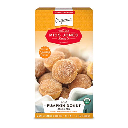 Miss Jones Baking Organic Mini Pumpkin Donut Muffin Mix with Sugar Vegan-Friendly, Dairy-Free, Soy-Free and Nut-Free, 4 Oz, Pumpkin Spice, 1 Count