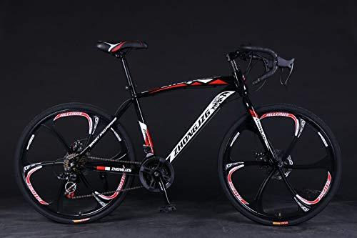 QIUSge Road Bike 21 Speed Disc Brakes,700c Shimanos Mountain Bike Commuters Aluminum Full Suspension Bicycle Racing (Black)