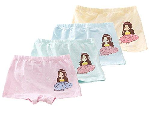 FAIRYRAIN FAIRYRAIN 4 Packung Baby Kleinkind Mädchen Prinzessin Pantys Hipster Shorts Spitze Baumwollunterhosen Unterwäsche 2-4 Jahre