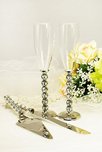 Silver Wedding Toasting Glass Knife and Wedding Cake Server Set