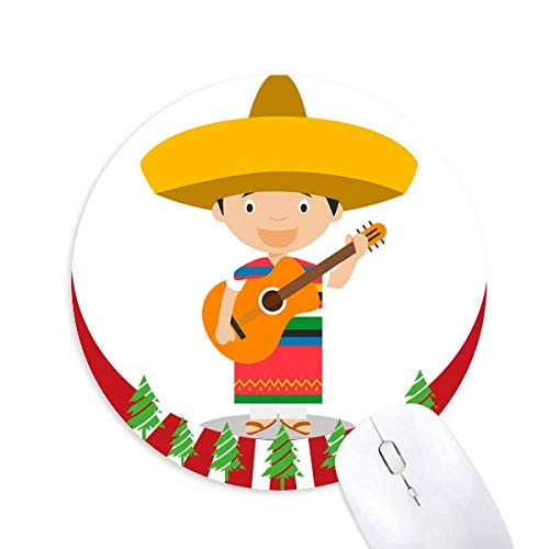 Hut Gitarre Mexiko Cartoon Round Rubber Mouse Pad Weihnachtsdekoration