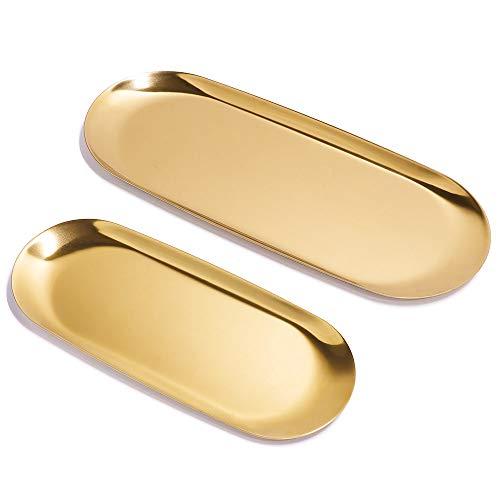 ANZOME 2 juegos de bandejas ovaladas de acero inoxidable doradas, platos de almacenamiento para toallas, platos de té, frutas y cosméticos, 2 tamaños (grande y máximo)