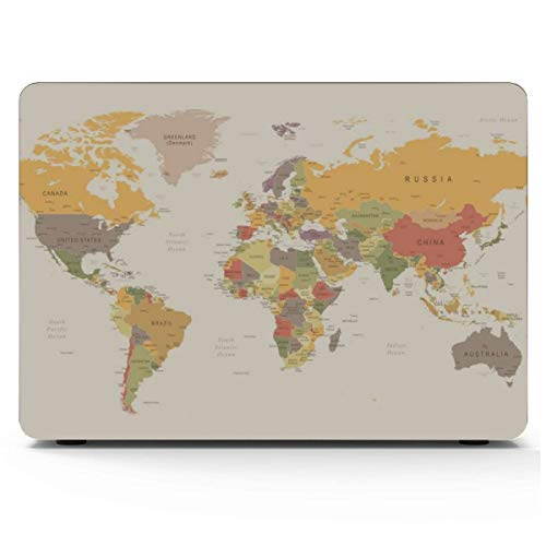 Hard Laptop Cases Printed Cartoon World Map Decor Icon MacBook Shell Hard Shell Mac Air 11'/13' Pro 13'/15'/16' with Notebook Sleeve Bag for MacBook 2008-2020 Version