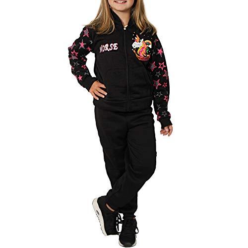 Candygirls Thermo Mädchen Jogginganzug Kinder Einhorn Sportanzug Jacke Freitzeitanzug Baby B545P (Schwarz, 4 = 104/110)